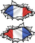 Small handed Oval Ripped Pair Metal Design With France French Flag Vinyl Car Sticker 85x50mm Each